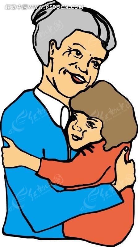 奶奶抱孙子图片