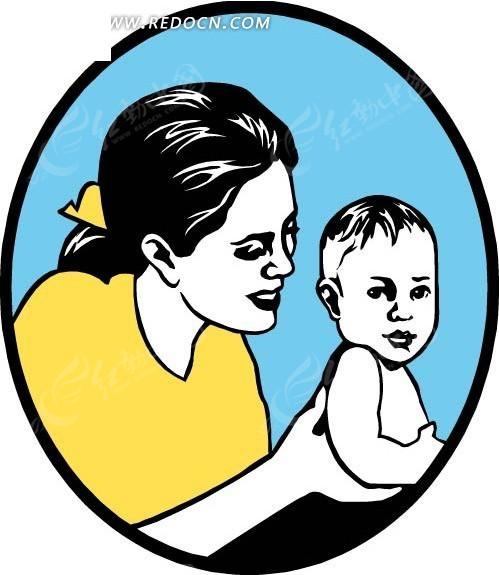 线描妈妈和婴儿