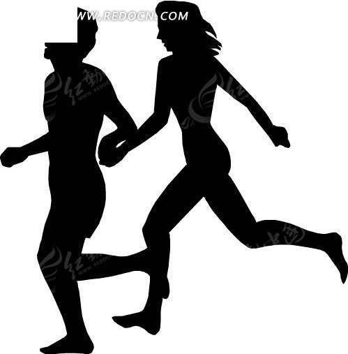 牵手跑步的情侣