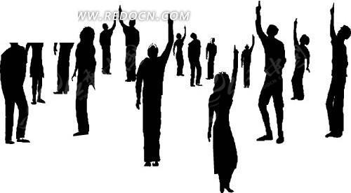 很多举手的人eps素材免费下载_红动网
