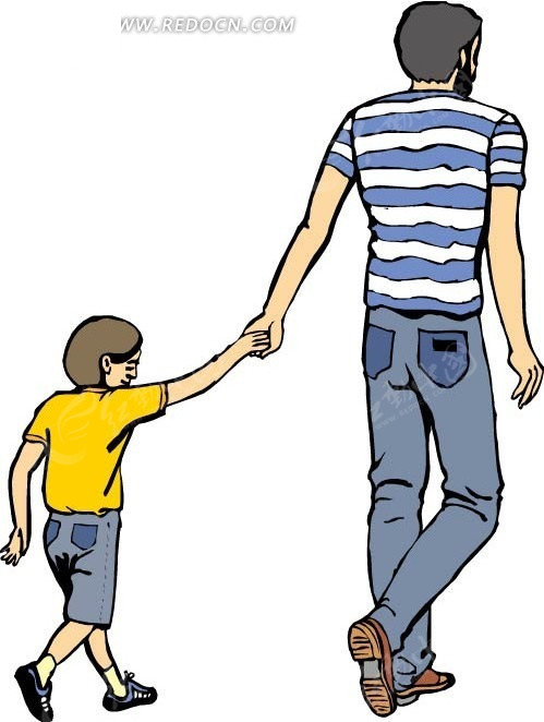 领着小孩的父亲背影
