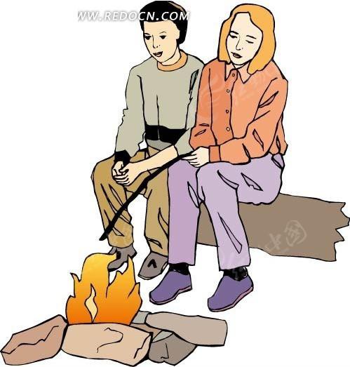免费素材 矢量素材 矢量人物 卡通形象 手绘烤火的男女  请您分享: 红
