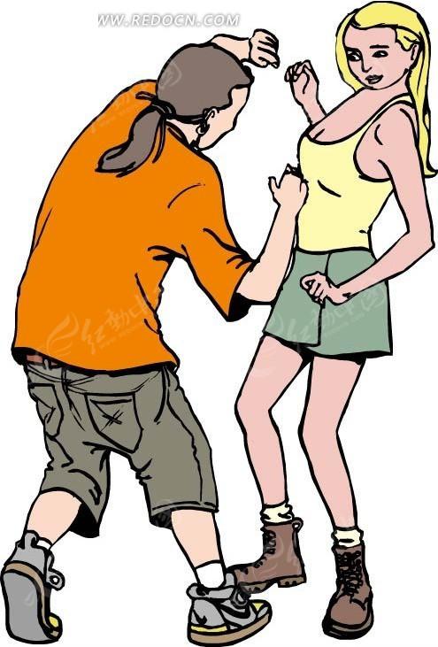 免费素材 矢量素材 矢量人物 卡通形象 > 手绘搏斗的男女  免费下载我