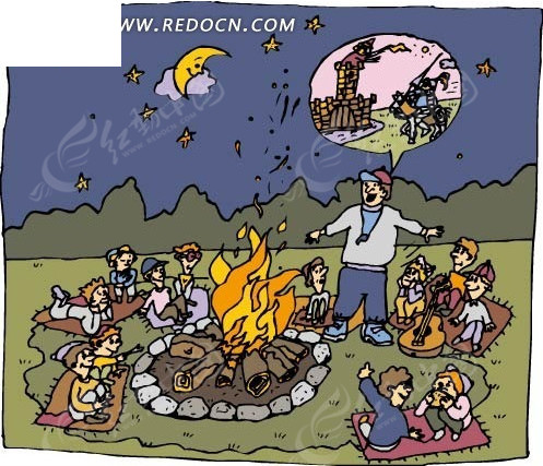 讲故事 卡通人物 绘画 手绘  小朋友 老师 露营 火堆  卡通人物图片