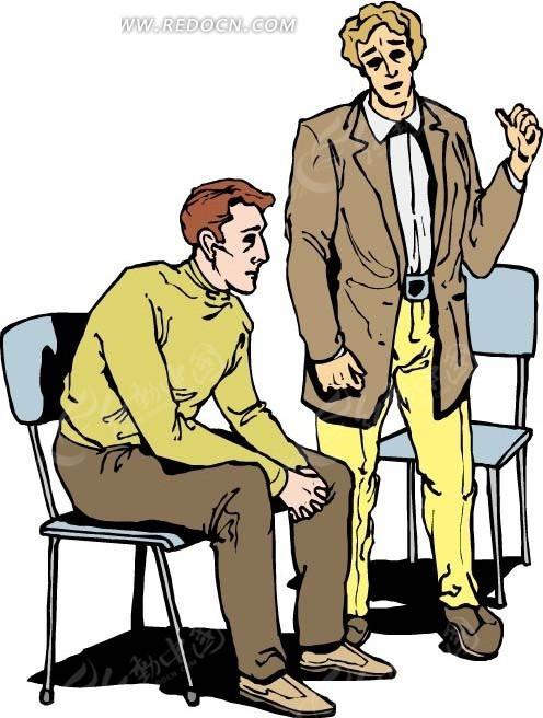 手绘椅子前的男人在坐着的男人
