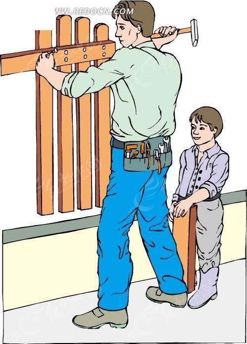 帮爸爸干活儿的小孩