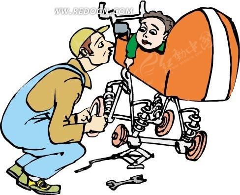 修理婴儿车的爸爸和小孩矢量图