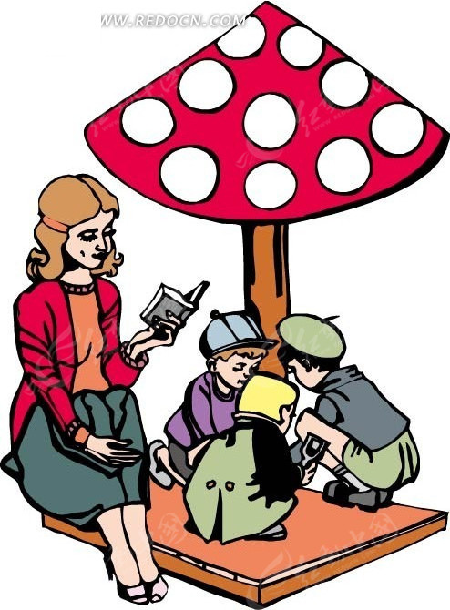 谁跟妈妈玩���)��,_看书的妈妈和一旁玩耍的三个孩子