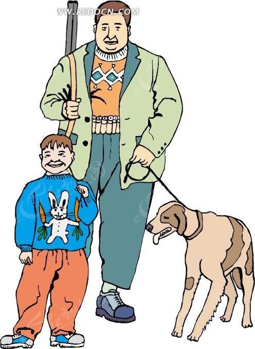 牵着狗的爸爸和小孩