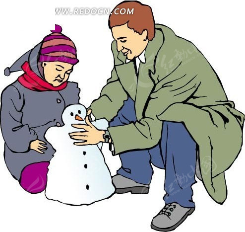 爸爸和小孩堆雪人矢量图 头像