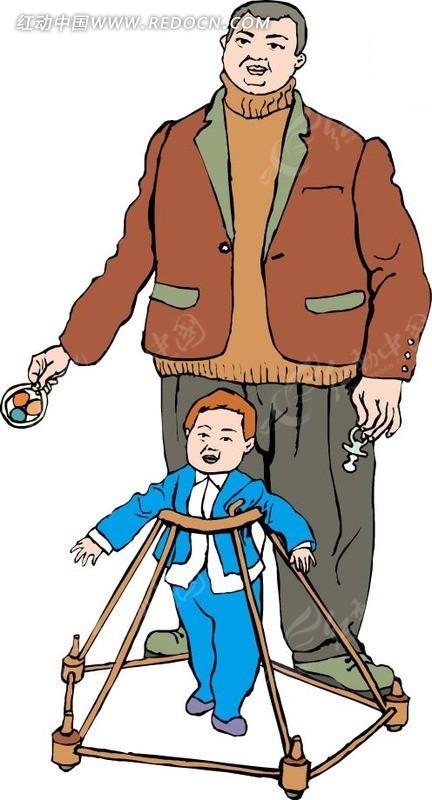 学步车里的小孩和爸爸