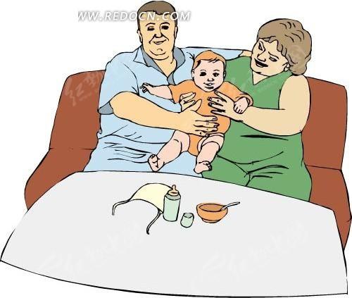 沙发上的爸爸妈妈和小孩eps免费下载_卡通形象素材