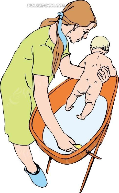 手绘抱着婴儿清理婴儿车的女人
