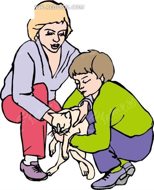 抱着猫咪的小孩和妈妈eps免费下载_卡通形象素材