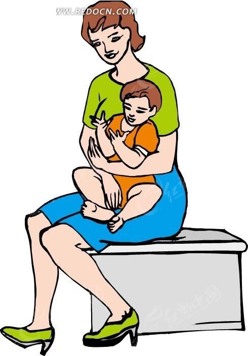 手绘抱着孩子坐着的女人
