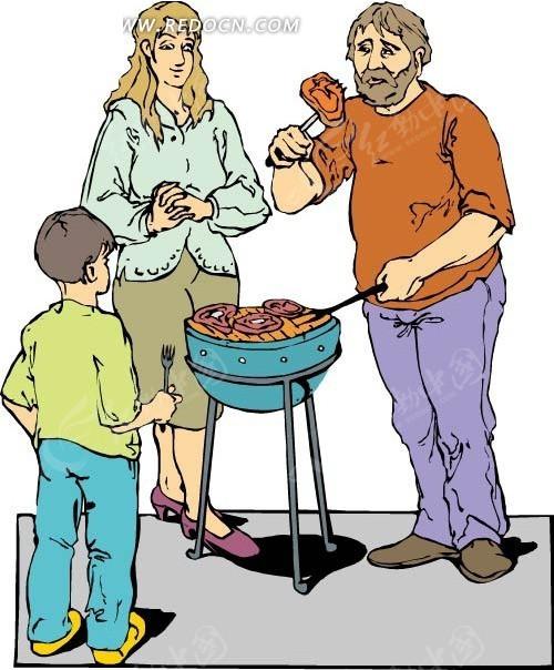 免费素材 矢量素材 矢量人物 卡通形象 吃烧烤