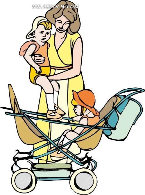 妈妈婴儿车和两个小孩