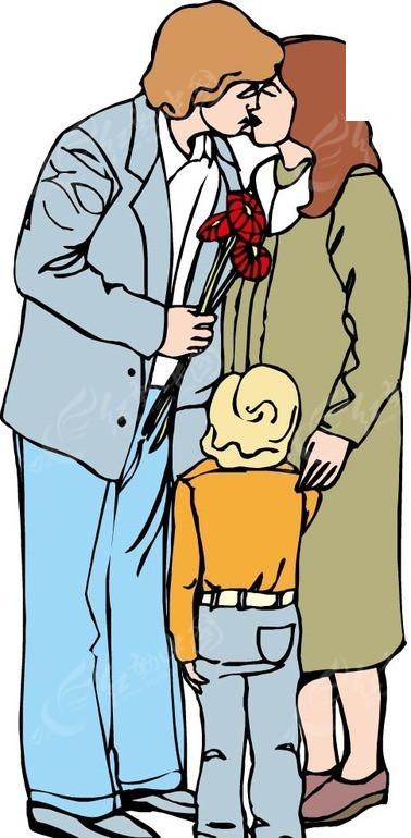 亲密的爸爸妈妈和小孩