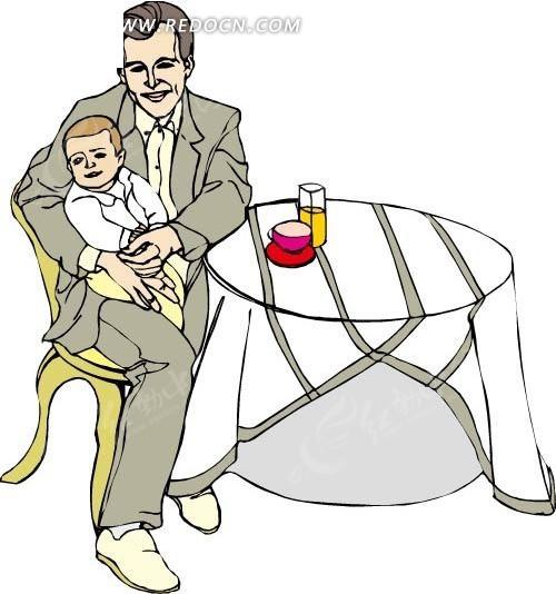 爸爸抱宝宝简笔画