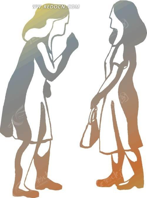 两位谈话的卡通美女矢量图