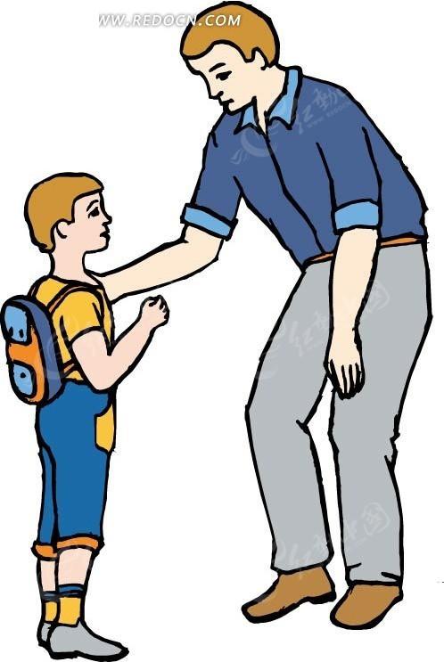 免费素材 矢量素材 矢量人物 卡通形象 爸爸和背书包的儿子  请您分