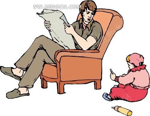 沙发上看报纸的爸爸和小孩