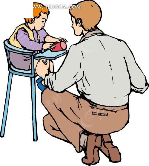 看小孩的父亲背影矢量图_卡通形象