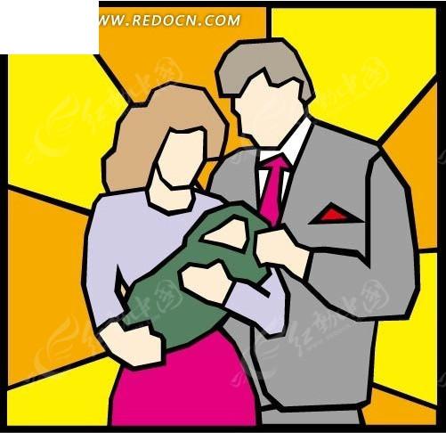 免费素材 矢量素材 矢量人物 卡通形象 抱着婴儿的妈妈和爸爸  请您