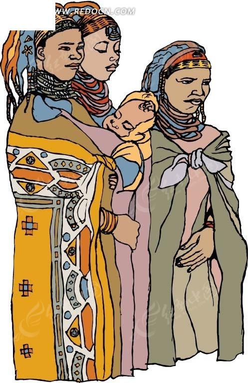 免费素材 矢量素材 矢量人物 卡通形象 三个傣族少女  请您分享: 素材图片