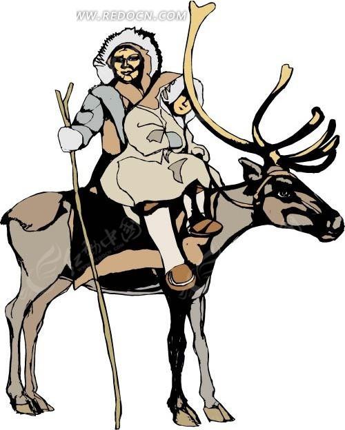 骑着麋鹿的卡通人物