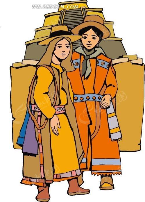 免费素材 矢量素材 矢量人物 卡通形象 西藏人民