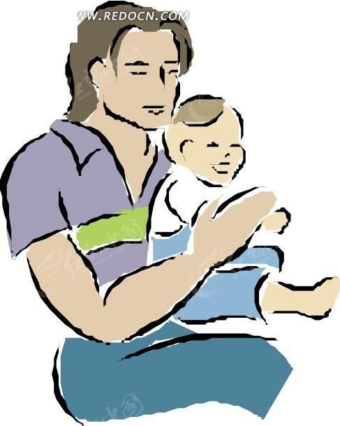 抱着小孩的卡通人物
