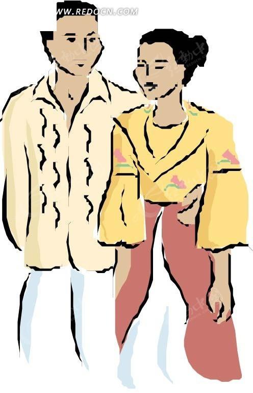 手绘年轻夫妻