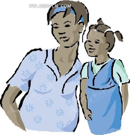 手绘靠在一起的黑人母女