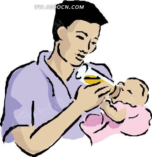 手绘喂着小婴儿喝奶的妈妈_卡通形象_红动手机版
