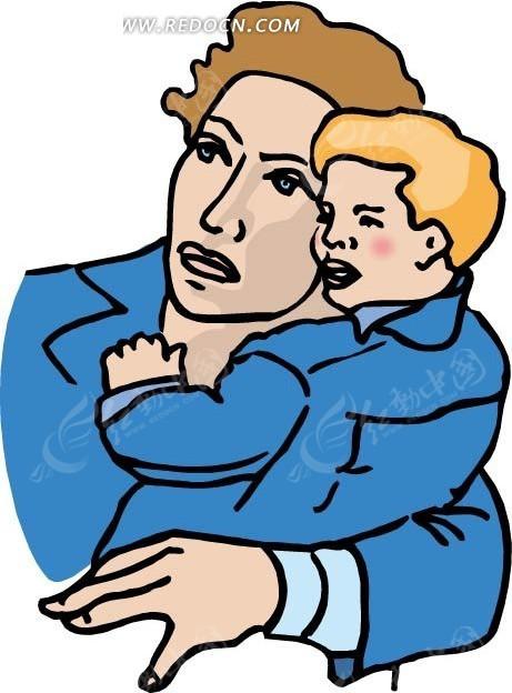 小男孩 儿子 爸爸 男人 卡通 绘画 插画 手绘 卡通人物 卡通人物图片