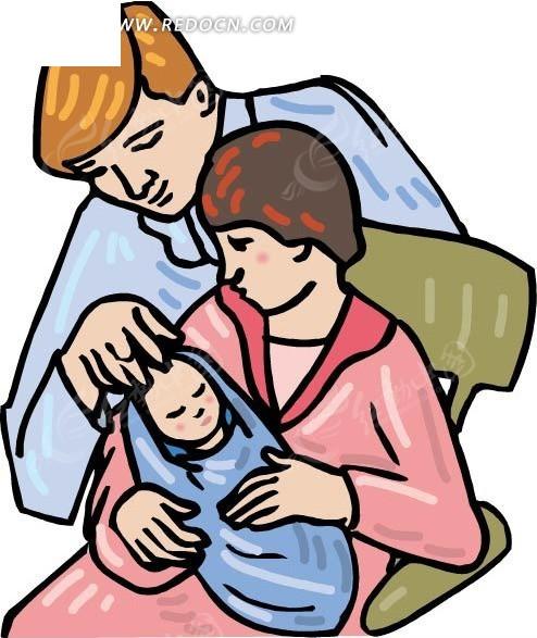 抱着婴儿的妈妈和爸爸