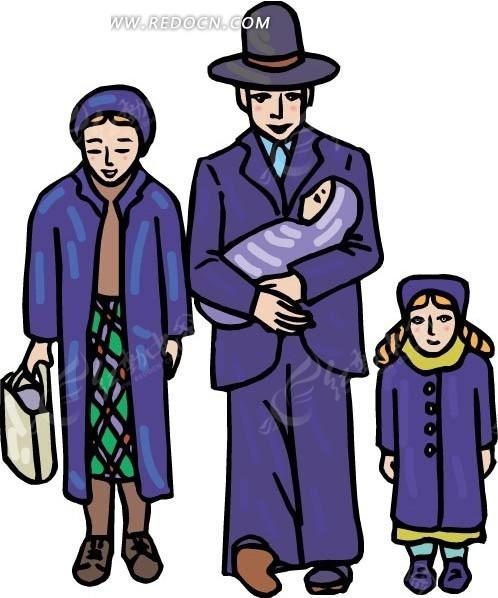 抱着婴儿的爸爸妈妈和女儿