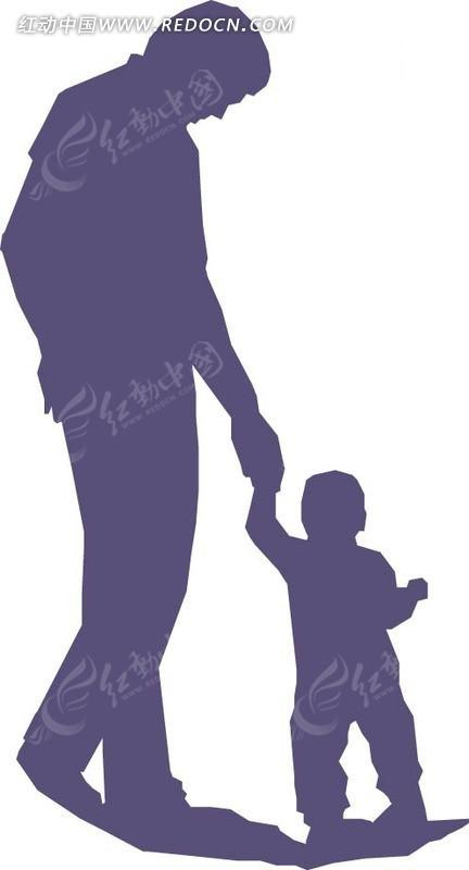 领着小孩的父亲背影_卡通形象_红动手机版