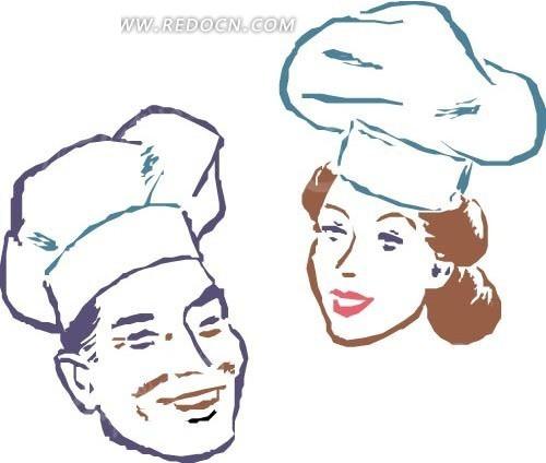 手绘男女厨师头像