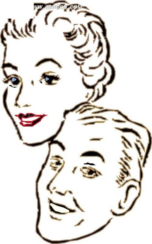 手绘男女头像