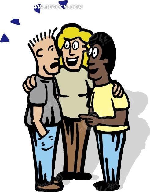 抱在一起的三个人矢量图