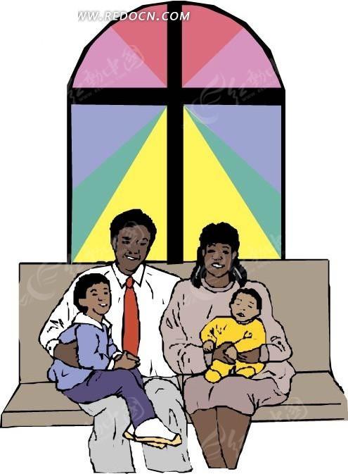 手绘坐在沙发上的黑人一家四口