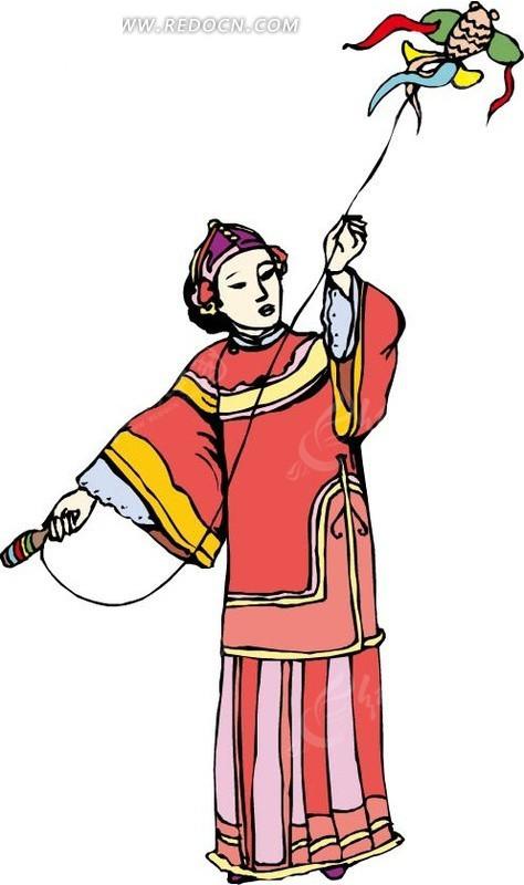 放风筝的美女矢量图 卡通形象图片