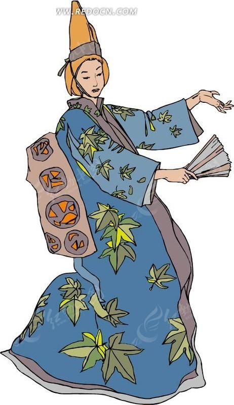艺伎跳舞矢量图_卡通形象