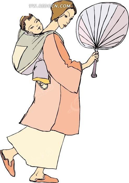 免费素材 矢量素材 矢量人物 卡通形象 手拿蒲扇背着小孩的妇女