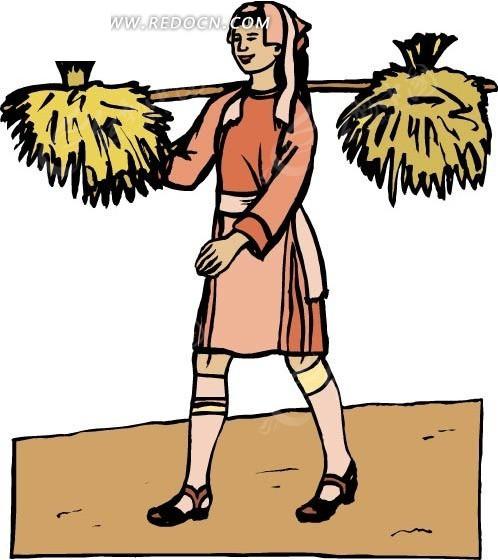 免费素材 矢量素材 矢量人物 卡通形象 挑担的妇女