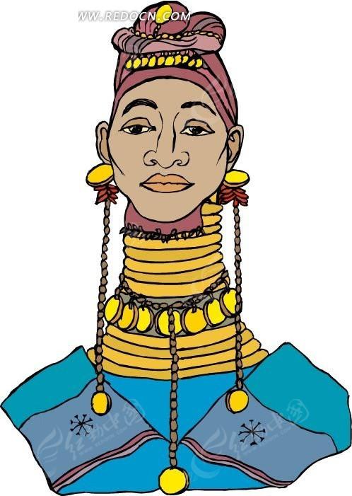 手绘非洲长脖子族少女