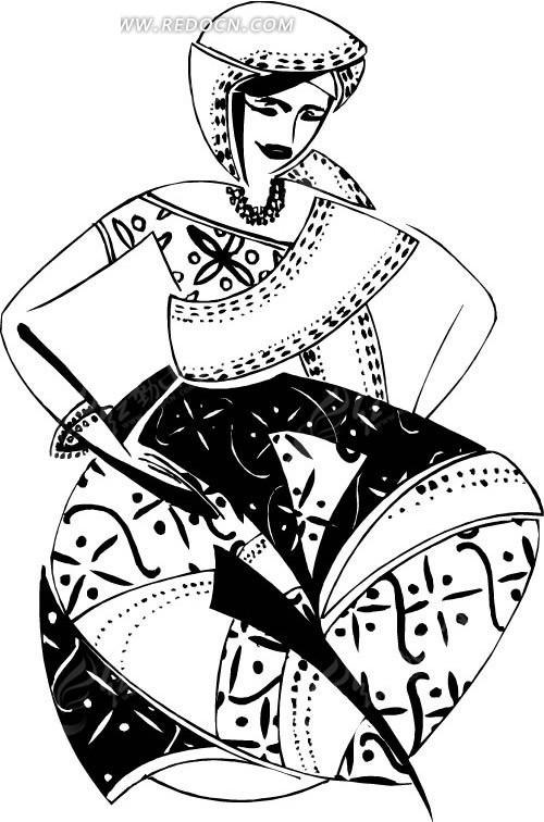 盘腿的异族少女手绘图案