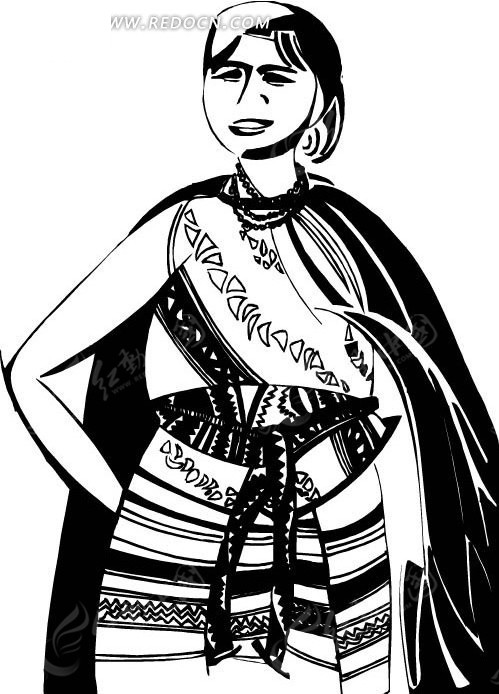 异域风情 美丽 少女 卡通人物 卡通画 插画 手绘 矢量素材 人物图片